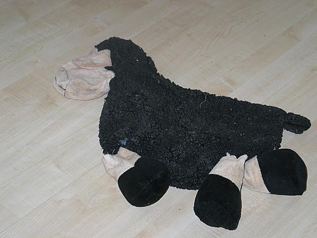 Aldi-Schaf - ganz platt